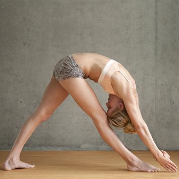 Standing Separate Leg Head to Knee Pose: Dandayamana-Bibhaktapada-Janushirasana
